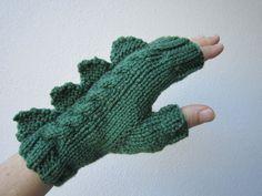 Dragón, dinosaurio, cocodrilo, godzilla o monstruo guantes fingerless verdes oscuros, Australian suave lana pura