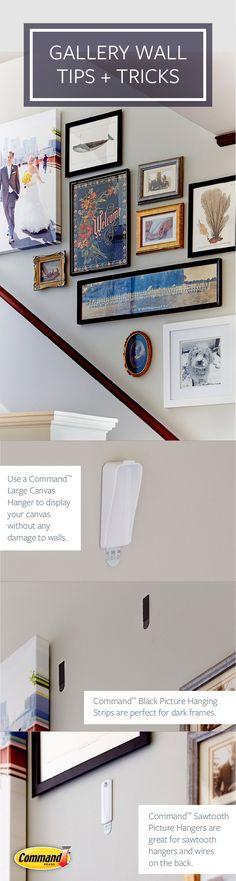 Four steps to the perfect staircase gallery wall. It's quick, easy and removes cleanly.