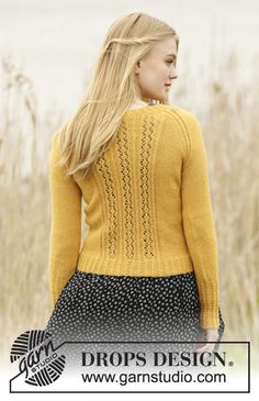 """Knitted DROPS jacket with lace pattern, small cables and raglan in """"Alpaca"""". Size: S - XXXL. ~ DROPS Design"""