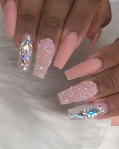 pink nails with rhinestones & pink nails - pink nails with glitter accent - pink nails acrylic - pink nails short - pink nails design - pink nails with rhinestones - pink nails coffin - pink nails with glitter Bling Acrylic Nails, Best Acrylic Nails, Acrylic Nail Designs, Nail Art Designs, Coffin Nails, Ongles Bling Bling, Bling Nails, Swarovski Nails, Rhinestone Nails