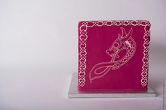 Cake-o-topia square wedding cake celtic dragon viking fuchsia