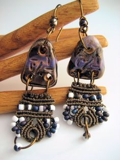 I used some rustic ceramic connector pieces by Scorched Earth in these dangle earrings and added an unexpected bit of beaded macrame. These