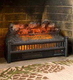 Electric Log Heater Fireplace Insert