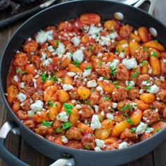 Made with just 4 ingredients in under 30 minutes, this One Pot Sausage Gnocchi is a simple, yet filling and tasty dish that whole family will enjoy! Andoille Sausage Recipes, Pasta Recipes, Pork Recipes, Free Recipes, Recipies, Italian Dishes, Italian Recipes, Tasty Dishes, Tasty Meals