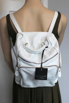 NWT $260 - Laura Di Maggio Designer White Leather Backpack Handbag - Italy! #LauraDiMaggio #BackpackStyle