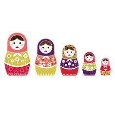 Russian Dolls Colour Wall Sticker Set - Spin Collective