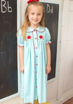 Apple Chest Hand Smocked Dress for girls.   $60