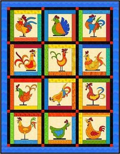Funky chickens by Fat Cat patterns