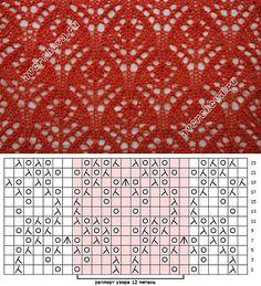 Ажурный узор «цветочки» | каталог вязаных спицами узоров | Узоры спицами | Постила