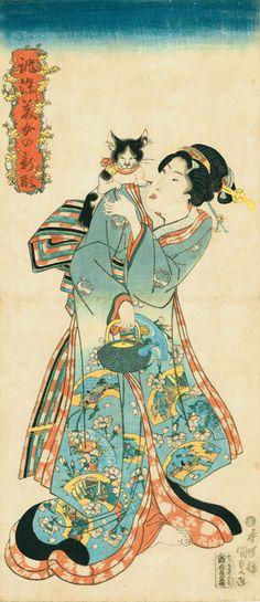 歌川国貞《誂染美女の新形 猫と美人》文政(1818-30年)後期