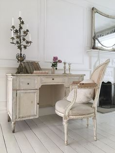 Antique French desk, chair and mirror