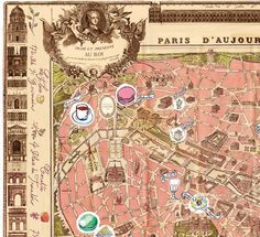 Paris map poster Delicious places on a Vintage Map by lucileskitchen,