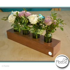 Vasen - Edel Makore 4er Blumenvase Vasenleiste Glasvase - ein Designerstück von Peetie-Holzdesign bei DaWanda