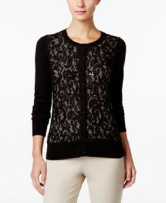 Charter Club Large Deep Black White Sequined Lace Cardigan Sweater | Clothing, Shoes & Accessories, Women's Clothing, Sweaters | eBay!