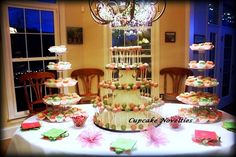 Pink Green Apple Blossom Cake Pops & Petit Fours Tower Display, Cupcake Novelties, Winchester VA - Gourmet Cupcakes, Wedding Cakes, Cake Pops, Cookies & Cakes, Edible Cupcake Arrangements, Cupcake Bouquets, Cupcake Gifts, French Macarons & Treats