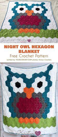 Night Owl Hexagon Blanket Free Crochet Pattern #freecrochetpatterns #crochetblanket #blanketforkids #owlpattern #crochetowl