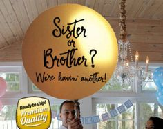 Sister or Brother Gender Reveal Balloon w/ tassels, Sibling Gender Reveal Balloon in Gold, Gender Reveal for Sibling | Gender Reveal Idea