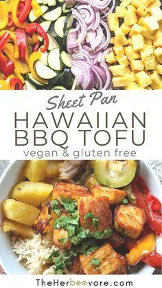 Healthy Eating Recipes, Vegetarian Recipes, Tofu Recipes, Dairy Free Recipes, Bbq Tofu, Great Recipes, Dinner Recipes, Sheet Pan, Original Recipe