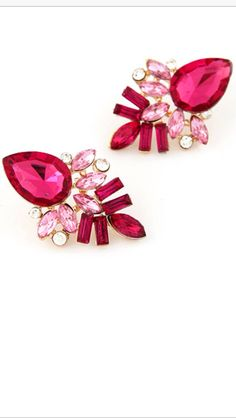 Earring, Stunning mixed pink drop studs, made from alloy and crystal, message me for details