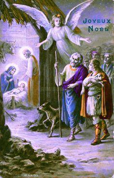 Joyeux Noël - Les bergers guidés par un ange arrivent à l'étable où Jésus est couché sur un lit de paille entouré de Marie et Joseph (from http://mercipourlacarte.com/picture?/1381/)