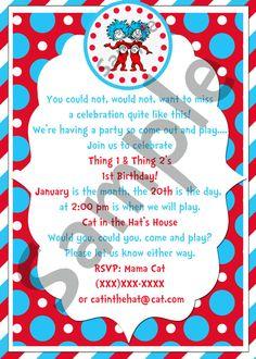 Seuss Thing 1 & Thing 2 Birthday Party Invitation Printable Stripe Border via Etsy