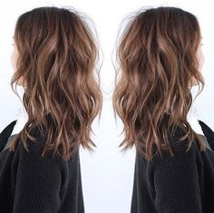 LOB hairstyle the most fashion choice of 2015~ nice brown messy hair with natural waves