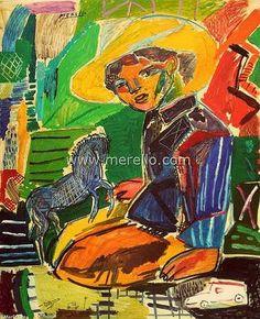 "R E S P L A N D O R.  Jose Manuel Merello.- ""Niño con caballo azul."" (92 X 73 cm) Mixed media on wood.   CONTEMPORARY ARTISTS. http://www.merello.com"
