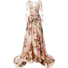 Marchesa lace panel flared gown (598.605 RUB) ❤ liked on Polyvore featuring dresses, gowns, marchesa, сукні, dusty rose dress, flared hem dress, marchesa gowns, lace panel dress and marchesa evening dresses