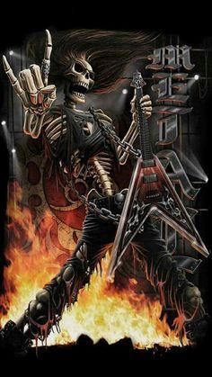 """Rock On"" (Skulls and Skeletons) Grim Reaper Art, Heavy Metal Art, Gothic Fantasy Art, Rock Poster, Totenkopf Tattoos, Skull Pictures, Metal Skull, Skull Artwork, Extreme Metal"