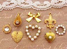 Vintage Style Romantic Heart Fleur de Lis Charm Mix Pearls Rhinestones Raw Brass - 8 by alyssabethsvintage on Etsy