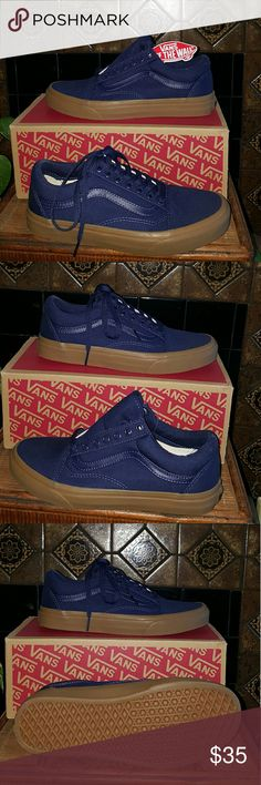 True Blue Navy Old Skool Vans Great deep navy. All year round. Great with jeans leggings shorts skirts sundresses workout gear and skater wear. Size 8.5 women's and 7.0 men's.  #barbarajeannef Vans Shoes Sneakers