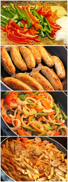 One Pan Italian Sausage and Pepper Pasta- Make this recipe with your favorite Johnsonville Brats or Italian Sausage!