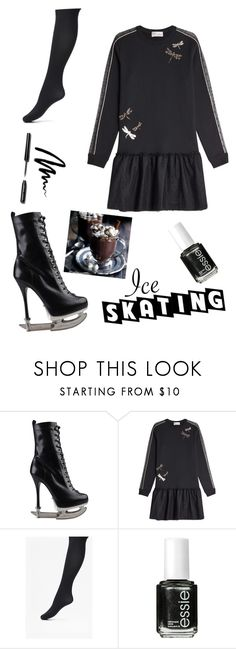 """Black Ice Queen"" by eva-jones-i ❤ liked on Polyvore featuring Dsquared2, RED Valentino, French Connection, Essie, Bobbi Brown Cosmetics and iceskatingoutfit"