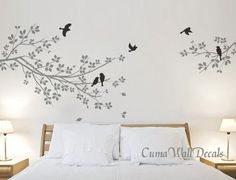 Tree and bird wall decals Nursery wall sticker Branch vinyl wall decal Children wall decals nature - 2 parts branch with pink birds Z115. $45.00, via Etsy.