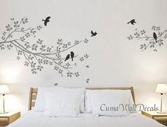 Vinyl wall decals grey branch Wall sticker birds Nursery by cuma