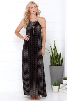black and tan southwest style maxi dress for summer
