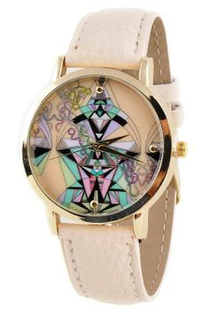 Gorgeous Abstract Print Big Face Watch (IVORY)