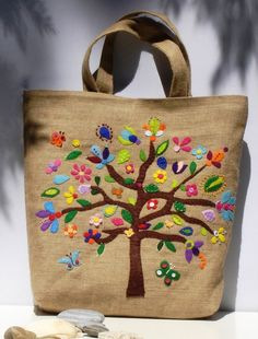 Summer Tote bag with colorful tree,Chic Jute,versatile,burlap ,handmade,applique,boho style, carry all, travel tote, beach bag, book bag