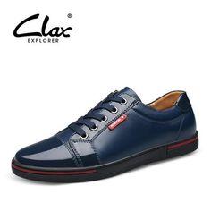 Clax Men's Patent Leather Shoes Fashion Designer Flat Male Elegant Shoe Black Blue British Style Casual Footwear Leisure - The Big Boy Store