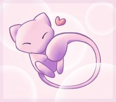 Mew by Elik-Chan on DeviantArt Mew And Mewtwo, Pokemon Eeveelutions, Cute Animal Drawings, Cute Drawings, Pokemon Red Blue, Disney Games, Purple Cat, Pokemon Pictures, Chibi