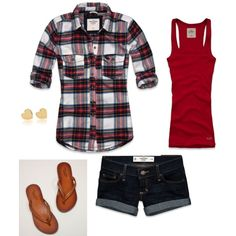 A fashion look from April 2012 featuring plaid button down shirt, vintage tanks and short cotton shorts. Browse and shop related looks. Cute Summer Outfits, Short Outfits, Spring Outfits, Casual Outfits, Cute Outfits, Plaid Shirt Outfit Summer, Summer Clothes, Mode Style, Style Me