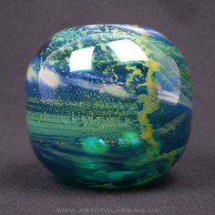 Mdina 'inside-out' blue glass vase, by Michael Harris