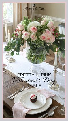 Pretty in Pink Valentine's Day Table Setting day decorations for tables floral arrangements Pretty in Pink Valentine's Day Table Setting on Maison de Cinq Fun Valentines Day Ideas, Valentines Day Holiday, Valentine Day Crafts, Valentine Decorations, Valentine's Day Quotes, Romantic Table Setting, Country Wreaths, Cool Tables, Pink Roses