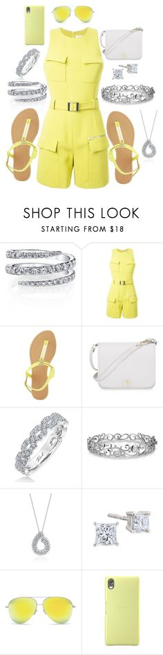 """""""Sunny Disposition"""" by jayme-becker ❤ liked on Polyvore featuring Thierry Mugler, Charlotte Russe, Furla, Karl Lagerfeld, Effy Jewelry, Victoria Beckham and Sony"""