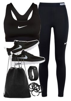 """Outfit for the gym"" by ferned ❤ liked on Polyvore featuring NIKE, Kara, H&M and Fitbit"