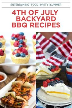35 of the Best Backyard BBQ Recipes out there, from burgers, to side dishes, to cocktails, and desserts. Perfect for your 4th of July party! Your guest will love your Fourth of July food! Peek inside for these amazing summer recipes! Summer Recipes, Holiday Recipes, Fun Desserts, Dessert Recipes, Healthy Eating Recipes, Healthy Eats, Fourth Of July Food, Picnic Foods, Backyard Bbq