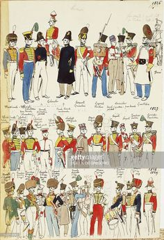 Foto Stock Various Uniforms Dating From 1826 To 1829 Color Plate By Cenni