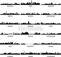 Vector: vettore european city skylines