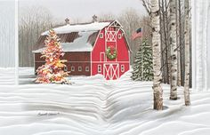 Crisp Winter Day - Holiday Greeting Cards- This charming country barn is decorated with a holiday wreath and has a Christmas tree all lit up along the well worn path in the snow. A great card for family, friends and associates.The Office Gal