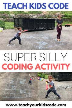 Looking for awesome coding activities for kids? This screen free activity is a perfect STEM activity for kids age 4+. Our no prep activity involves only some sidewalk chalk and a water squirter! Teach basic coding skills with this coding unplugged activity. Anyone can learn coding concepts with this SUPER SILLY and fun outdoor activity for kids. #codingunplugged #STEM #kidsactivity #screenfree #prescoolactivities